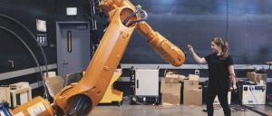 Robotics researcher Madeline Gannon has developed a gesture-based control software that allows industrial robots to see people and respond to them in a shared space, opening the way for robots to work in a more flexible manner on a range of tasks.