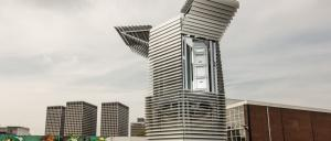 Air purifying tower extracts smog particles via ionisation