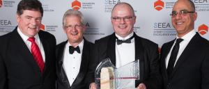 John Arkwright celebrating the AEEA Sydney 2014 success with his team.