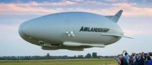 The Airlander 10 hovers near the crowd at Cardington Airfield. Photo: Hybrid Air Vehicles