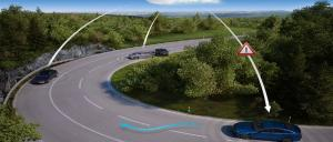 Communication between vehicles via the cloud can provide advance warning of accidents. Image: HERE