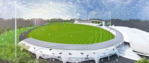 Artist's impression of the rebuilt Eureka Stadium. Image: Peddle Thorp Architects