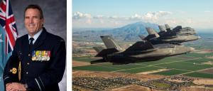 AVM Leigh Gordon and four F-35s in the sky above Arizona. Photos: RAAF/Lockheed Martin