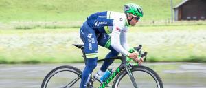 An ORICA-GreenEDGE cyclist tries out the new helmet. Photo: Simon Ricklin/Scott