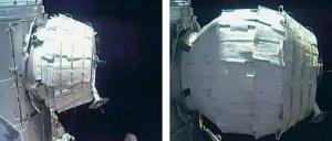 Images of the BEAM before and after its expansion. Photos: NASA