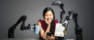 Marita Cheng and her robotic arm Jeva. Photo: Damien Pleming