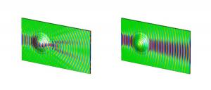 The left image shows the cloak not in use and the waveform disrupted. The right image shows the cloak in action and a noticeable improvement in the reconstruction of wavefronts. Image: QMUL