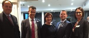 At the Smart Citites event held in Newcastle, Leon Fabrikanov (EA CLM Chair), Tim Crakanthorp (Newcastle MP), Helen Link (EA Newcastle General Manager), Tim de Grauw (EA Newcastle President 2016), Gunilla Burrows (Eighteen04 Chair and MC for the event)