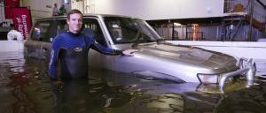 Flood tests with a Nissan Patrol 4WD at the Water Research Laboratory.