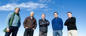 Robert Brunton, Ralf Thesing, Peter Mansford, Jon Morgan, Berry Mann at the Woodend Community Wind Farm.