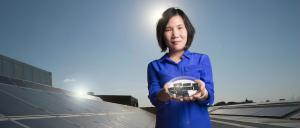 Dr Xiaojing Hao with her CZTS solar cells. Photo: UNSW