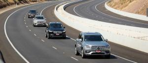 Four Volvo cars taking part in the driverless cars trial in Adelaide last year. Photo: SA Government