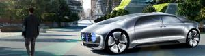 The Mercedes-Benz F 015 autonomous research car will not only detect pedestrians and other road users but communicate with them via external displays and a voice. Image: Mercedes-Benz