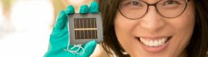Dr Anita Ho-Baillie with the perovskite solar cell. Photo: UNSW